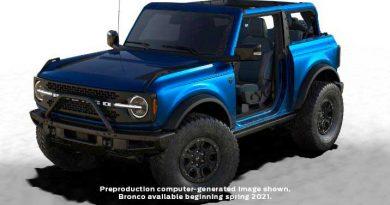 """2021 Ford Bronco: Warthog/Raptor Getting 37-Inch Tires, """"Lightning Blue"""" Limited"""